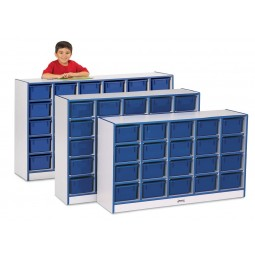 Jonti-Craft Rainbow Accents 20 Cubbie-Tray Mobile Storage - With or Without Trays in Multiple Colors