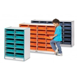 Jonti-Craft Rainbow Accents 24 Paper-Tray Mobile Storage - With or Without Trays in Multiple Colors