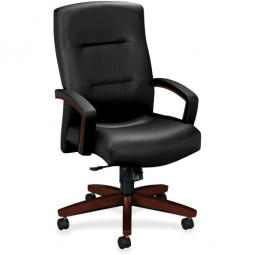 """HON Park Avenue Collection Executive High-Back Chair, 26"""" x 29"""" x 44½"""", Mahogany/Black Leather"""