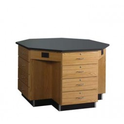 """Solid Oak Octagon Workstation with Drawer Base, 56""""W - 2 Top Types"""