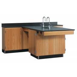 "Solid Oak Wood Perimeter Workstation w/ Sink, 1 Door, 90""W - 2 Top Types"