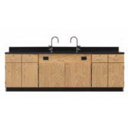 """Solid Oak Wood Wall Service Bench with Door/Drawer Cabinet, Sink, 108""""W - 2 Top Types"""