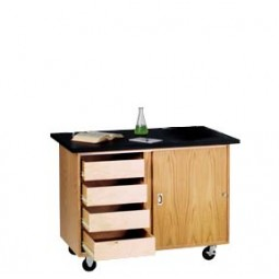 """UV Finish Solid Oak Wood Mobile Demo Table with Drawers, Rod Sockets, and Flat ChemGuard Top, 48""""W x 48""""H x 28""""D"""
