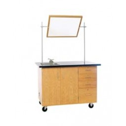 """Solid Oak Wood Extra Large Mobile Demonstration Center with Sink and Fixtures, ChemGuard Top, 54""""W x 36""""H x 30""""D"""