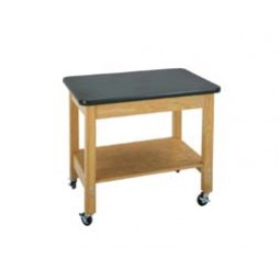 """Solid Oak Wood Mobile Demo Cart with Plywood Shelf, 36""""W - 2 Top Types"""