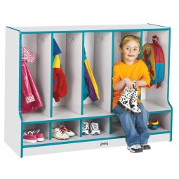 Jonti-Craft Rainbow Accents Toddler 5 Section Coat Locker with Step - With or Without Trays in Multiple Colors