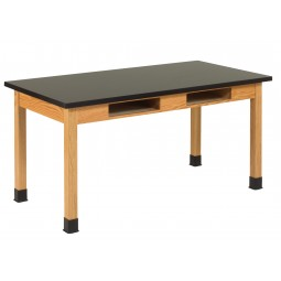 """UV Finish Solid Oak Wood Table with Book Compartment, 60""""W - 3 Top Types"""