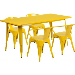 31.5'' x 63'' Rectangular Metal Indoor Table Set with 4 Arm Chairs