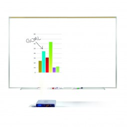 """Aluminum Frame Porcelain Magnetic Projection Whiteboards with 1"""" Maprail by Ghent"""