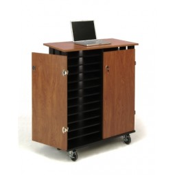 Laptop Charging/Storage Cart (Cherry/Black) - LCSC by Oklahoma Sound
