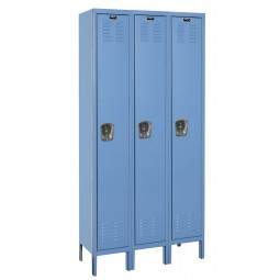 "Hallowell Premium Locker, 36""W x 12""D x 78""H, 707 Marine Blue, Single Tier, 3-Wide"