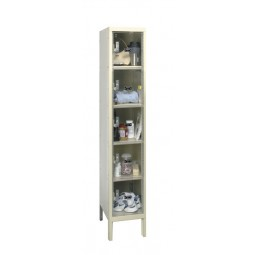 "Hallowell Safety-View Plus Locker, 12""W x 15""D x 66""H, 729 Parchment, 5-Tier, 1-Wide"
