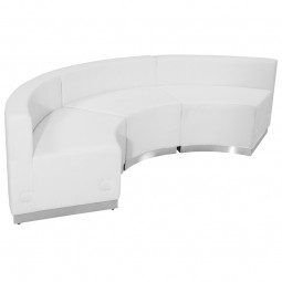 Signature Alon Series White Leather Reception Configuration, 3 Pieces