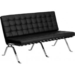 Signature Flash Series Black Leather Love Seat with Curved Legs