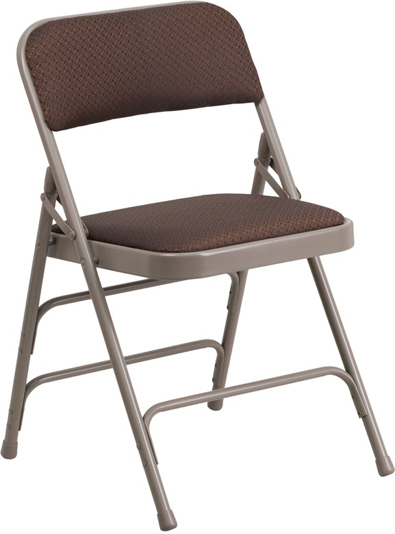 Signature Series Curved Triple Braced Quad Hinged Brown Patterned Fabric Upholstered Metal Folding Chair
