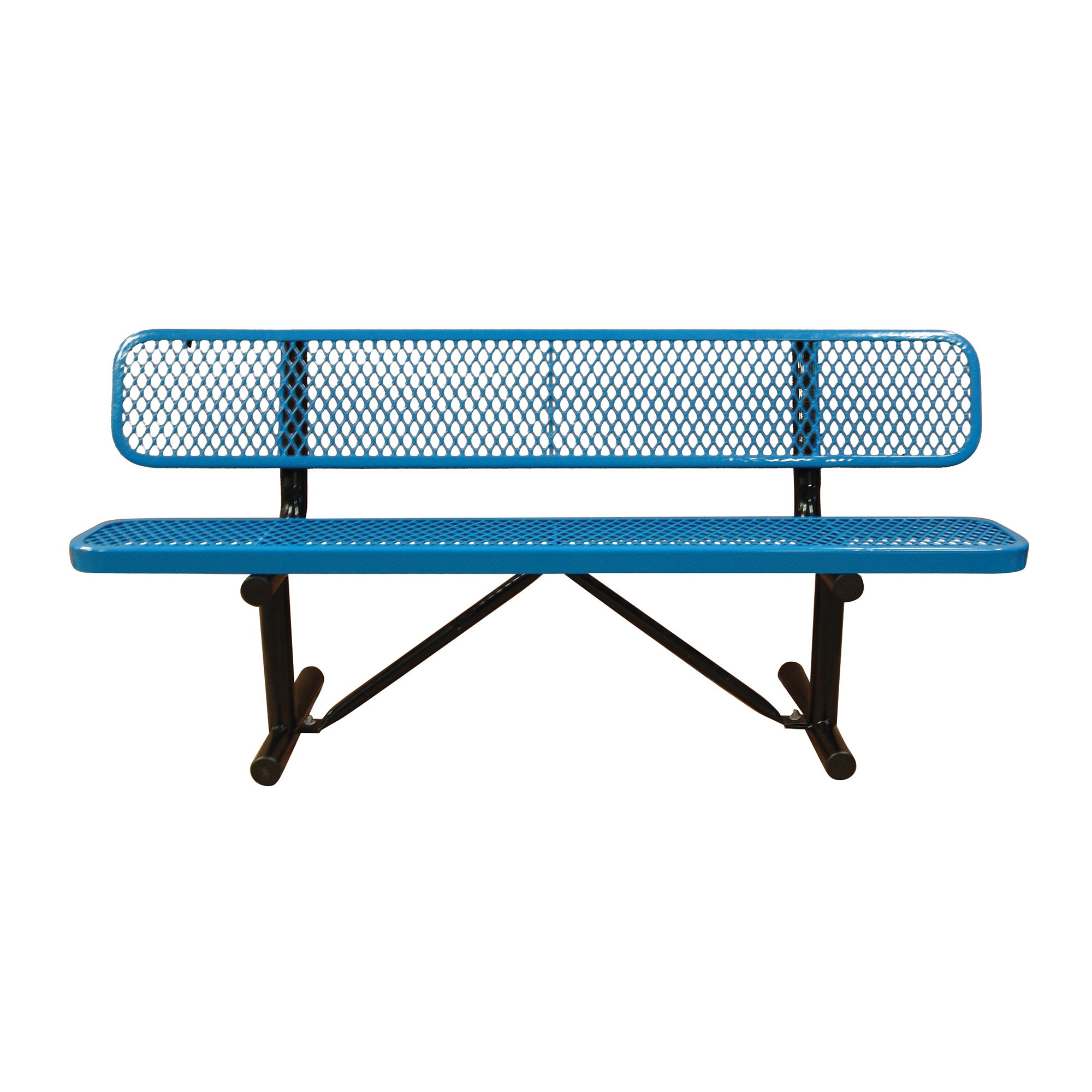Outdoor School Bench With Expanded Metal And Back By Leisure Craft