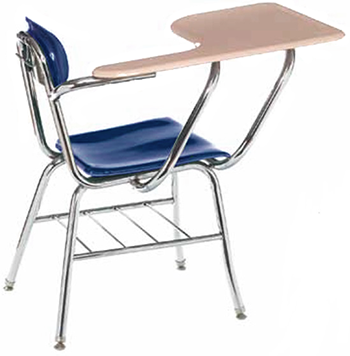 Columbia Manufacturing 17.5  Seat Height Tablet-Arm Chair-Desk with Bookrack - Blue/Sand  sc 1 st  Signature School Products & Columbia Manufacturing 17.5