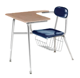 Columbia Manufacturing 17.5  Seat Height Tablet-Arm Chair-Desk with Bookbasket - Blue/Sand  sc 1 st  Signature School Products & Columbia Manufacturing 17.5