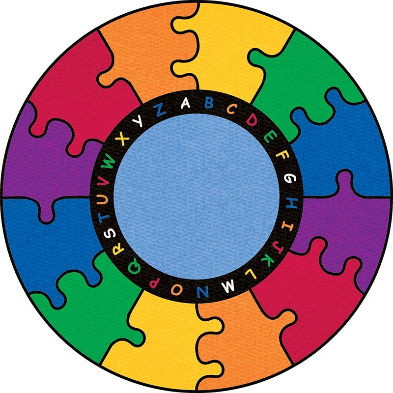 ABC Rainbow Puzzle Round Small Rug by Learning Carpets CPR448