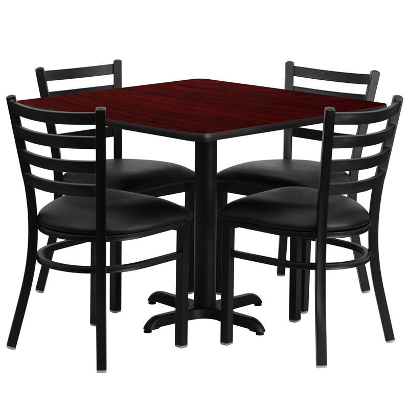 36\'\' Square Laminate Table Set with 4 Ladder Back Metal Chairs - Black  Vinyl Seat - 4 Table Colors