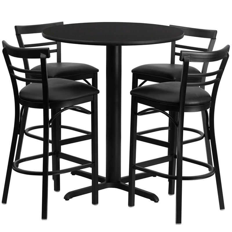 Fantastic 24 Round Walnut Laminate Table Set With 4 Ladder Back Metal Bar Stools Black Vinyl Seat 4 Table Colors Ibusinesslaw Wood Chair Design Ideas Ibusinesslaworg