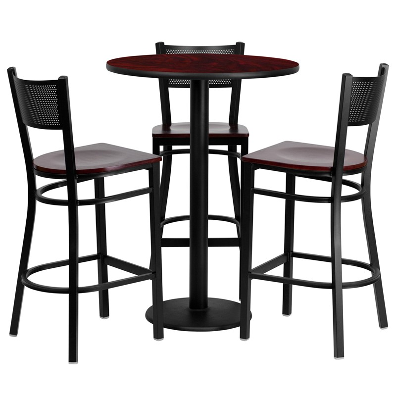 Marvelous 30 Round Laminate Table Set With 3 Grid Back Metal Bar Stools 3 Styles Available Uwap Interior Chair Design Uwaporg