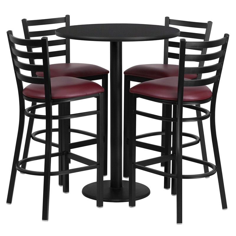 Tremendous 30 Round Laminate Table Set With 4 Ladder Back Metal Bar Stools 4 Styles Available Cjindustries Chair Design For Home Cjindustriesco