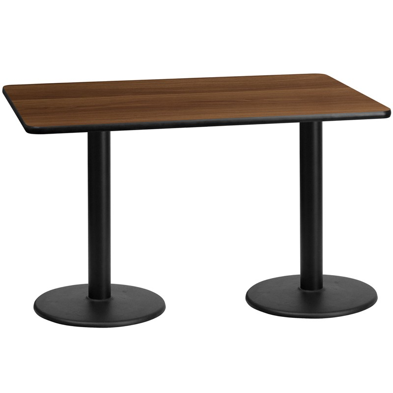 30 X 60 Rectangular Walnut Laminate Table Top With 18 Round Height Bases