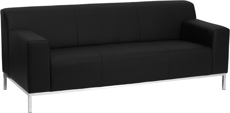 Signature Definity Series Contemporary Black Leather Sofa with Stainless  Steel Frame