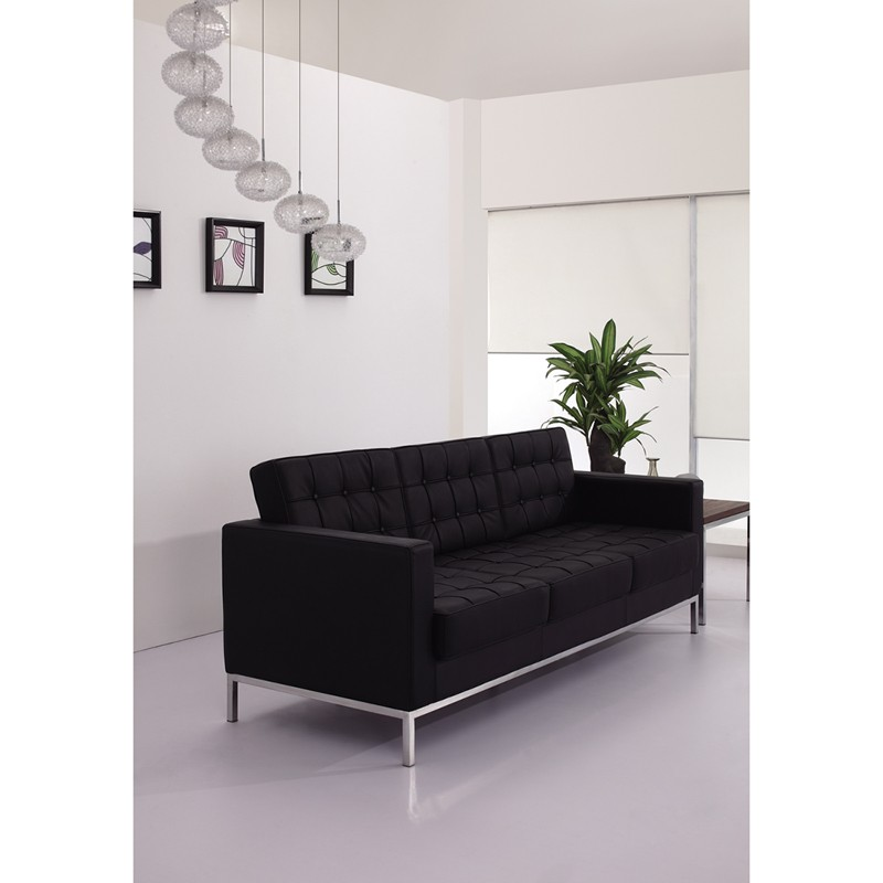 Signature Lacey Series Contemporary Black Leather Sofa with ...