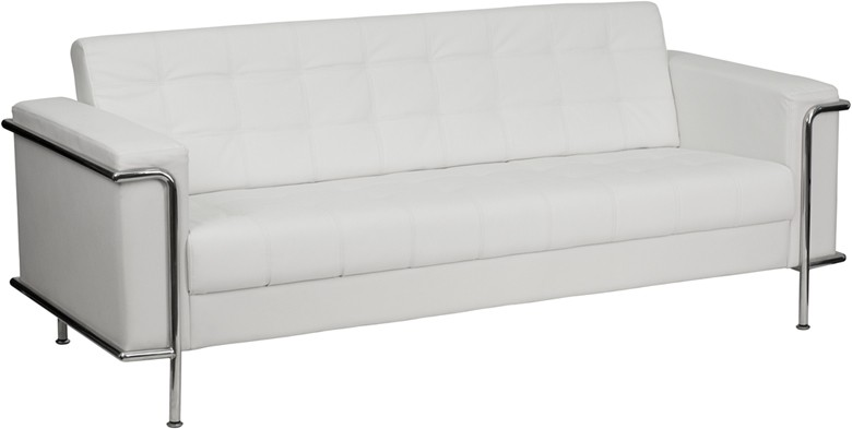 Signature Lesley Series Contemporary White Leather Sofa with ...