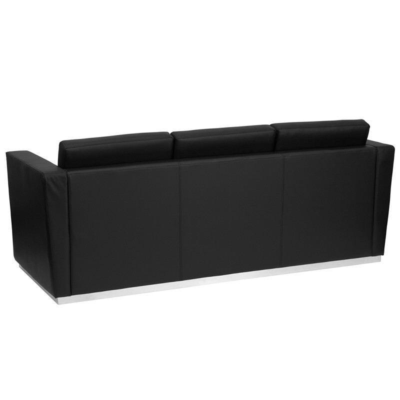 Signature Trinity Series Contemporary Black Leather Sofa with Stainless  Steel Base