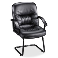 "Lorell Executive Guest Chair, 25¾"" x 28¼"" x 40¼"", Black Leather"