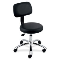"""Lorell Pneumatic Height Stool, with Back, 24"""" x 24"""" x 36"""", Black"""