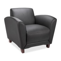 "Lorell Reception Chair, Bonded, 36"" x 34½"" x 31¼"", Black Leather"