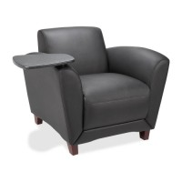 "Lorell Club Chair, with Tablet, 36"" x 34½"" x 31¼"", Black Leather"