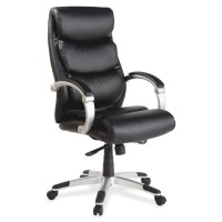 "Lorell Executive Highback Chair, Leather, Flex Arms, 27"" x 30"" x 46½"", Black"