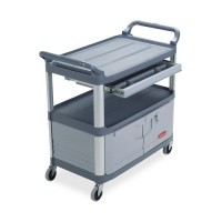"Rubbermaid Instrument Cart, with Enclosed Shelf, 40⅗"" x 20"" x 37⅘"", Gray"