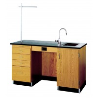 Solid Oak Wood Instructors Desk with Right or Left Sink, Phenolic Resin Top, 5' Width