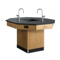 "Solid Oak Octagon Workstation with Sink, 62""W - 2 Top Types"