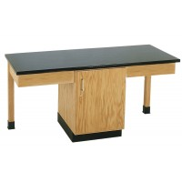 "Solid Oak Wood 2 Station Table with Plain Apron and Cabinet, 66""W - 4 Top Types"