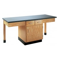 """Oak Wood 2 Station Table with Plain Apron and Drawers Cabinet, 66""""W - 4 Top Types"""
