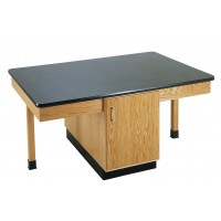 """Solid Oak Wood 4 Station Table with Plain Apron and Cabinet, 66"""" W - 3 Top Types"""