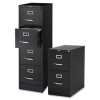 "Lorell Vertical Files, Black, 22"" Deep - Choose Letter or Legal, Black or Putty, 2 or 4 Drawers"