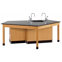 """Solid Oak Wood Forward Vision ADA Workstation with Door Cabinet, Sink, Epoxy Resin Top, 96""""W x 34""""H x 50""""D"""