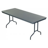 AmTab Dynalite ABS Plastic Tables with Wishbone Round Steel Legs - Gray – 4 Sizes
