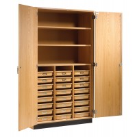 """Maple Wood Tote Tray and Shelving Storage Cabinet, 48""""W x 84""""H x 22""""D, 2 Adjustable and One Fixed Shelves"""