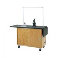 """UV Finish Solid Oak Wood Mobile Science Laboratory Unit, with Sink, Laminate Top, 48""""W x 36""""H x 24""""D"""