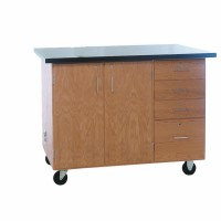 "Solid Oak Wood Extra Large Mobile Demonstration Center with Rod Sockets, ChemGuard Top, 54""W x 36""H x 30""D"