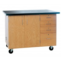 "Solid Oak Wood Extra Large Mobile Demonstration Center, ChemGuard Top, 54""W x 36""H x 30""D"